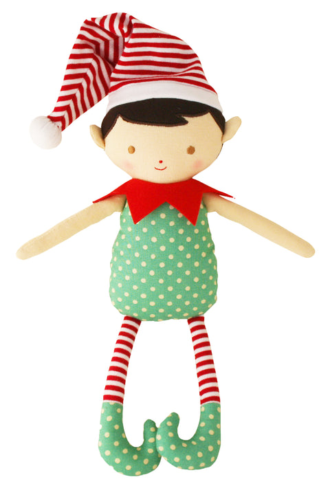 Alimrose Cheeky Elf Boy Rattle - Green Red