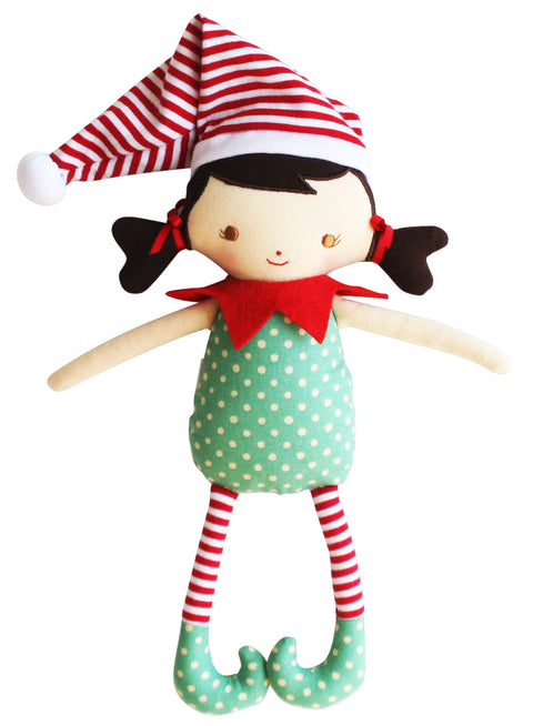 Alimrose Cheeky Elf Girl Rattle - Green Red