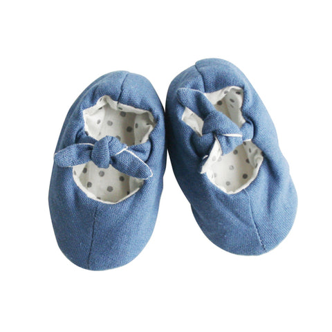 Alimrose Bobby Baby Slippers - Chambray Linen