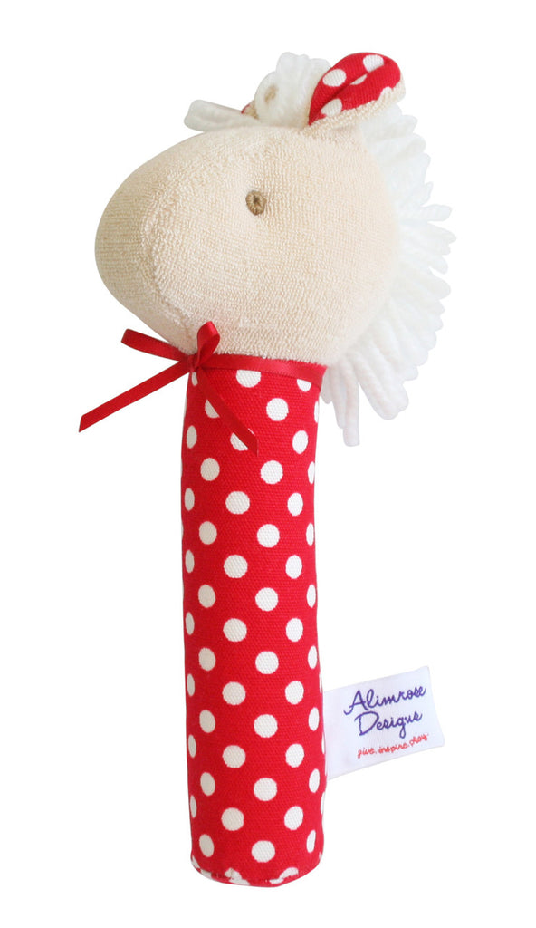 Alimrose Hand Squeaker - Horse Red Polka - My Messy Room