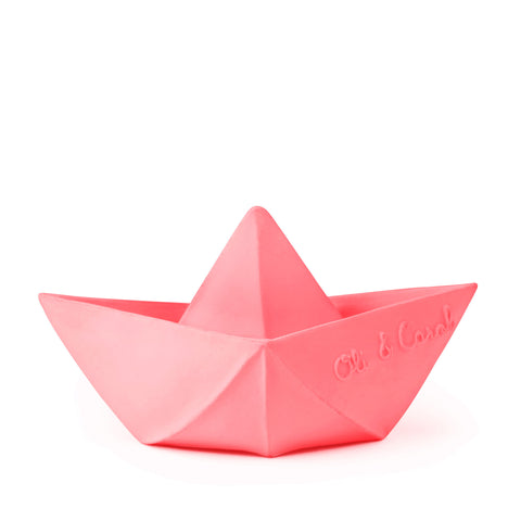 Oli and Carol Origami Boat Teether Bath Boxed - Pink