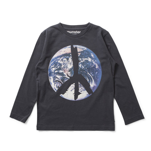 Munster Kids W17 Peace LS Top - Soft Black