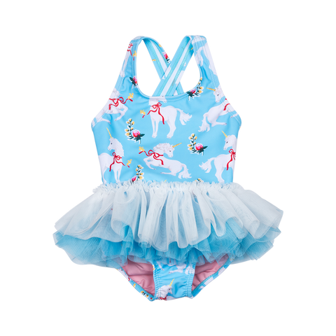 S17 Rock Your Kid White Unicorns Tulle One Piece