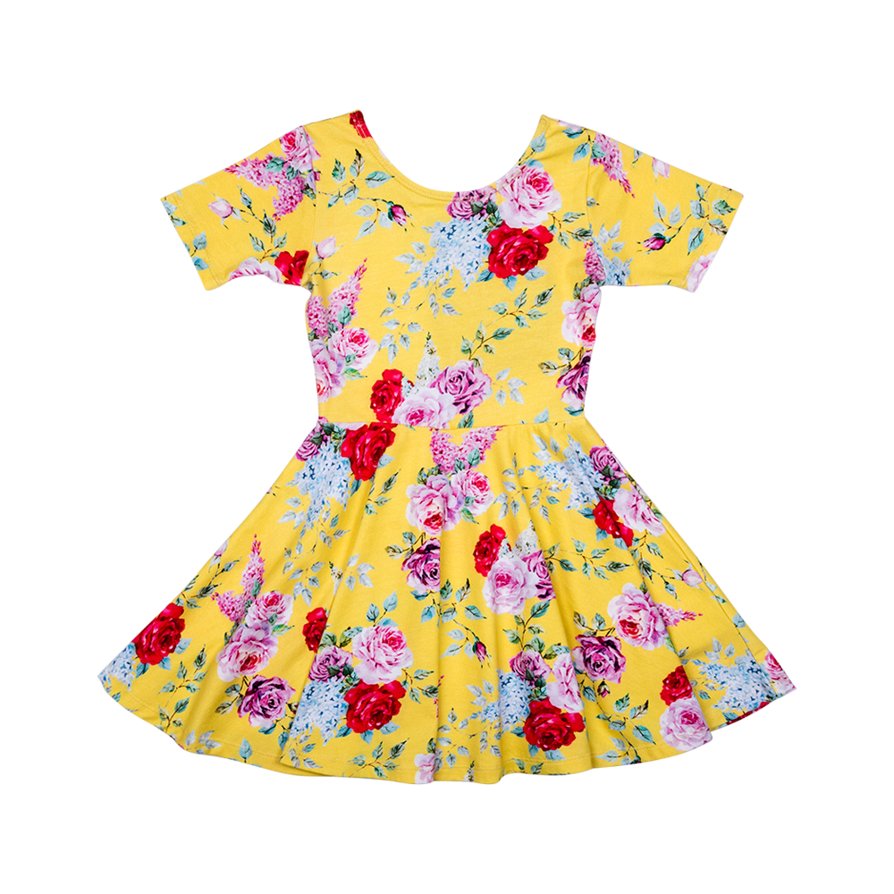 Rock Your Kid S17 Yellow Floral Waisted Dress