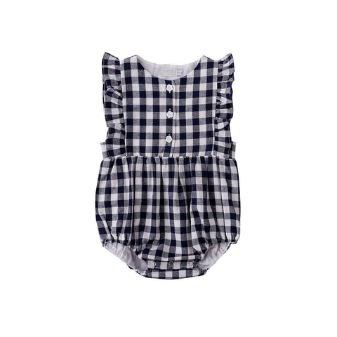 S17 Peggy August Playsuit in Navy Check