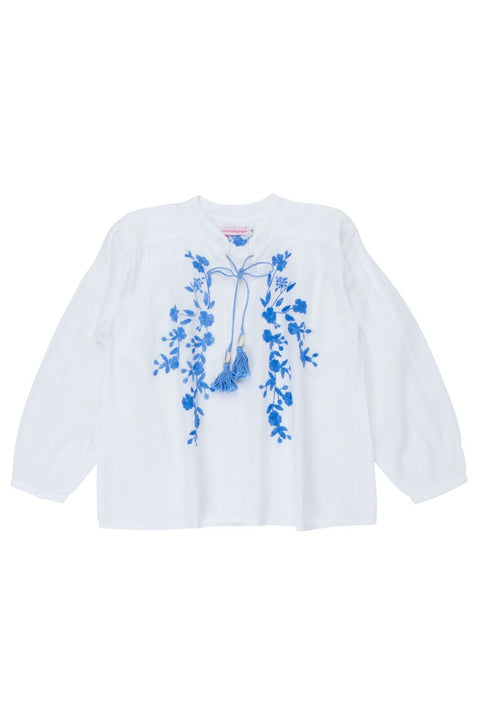 S17 Coco and Ginger Sonnet Blouse Eggshell with Periwinkle Handstitch (Pre-Order)