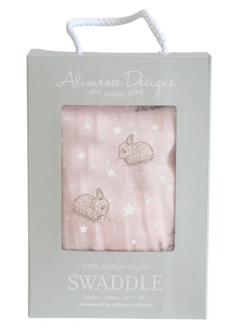 Alimrose Swaddle - Stars and Bunnies Pink