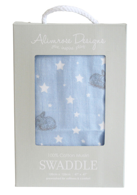 Alimrose Swaddle - Stars and Bunnies Blue