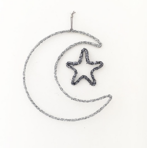 Twentyone Fifteen Moon & Star Wall Hanging - Silver & Gunmetal