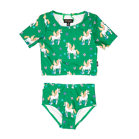 S18 Rock Your Kid Unicorn SS Crop Top Set