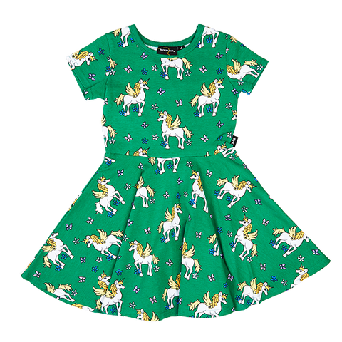 S18 Rock Your Kid Unicorns Waisted Dress