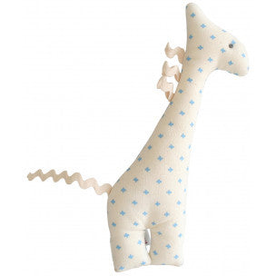 Alimrose Charlie Girafe Rattle - Blue & Ivory - My Messy Room