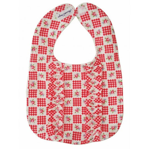 Alimrose Double Ruffle Bib -Cherry Check