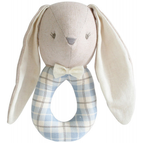 Alimrose Designs Linen Louie Bunny Grab Rattle - Blue