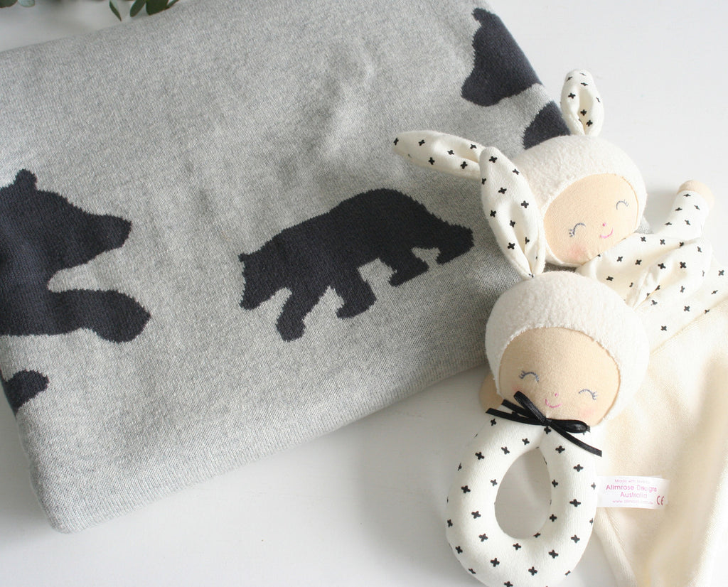 Alimrose Designs Bear & Star Cot Blanket - Charcoal
