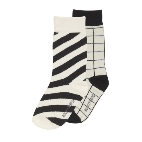 S18 Rock Your Kid Stripe Socks Black - 2 Pack