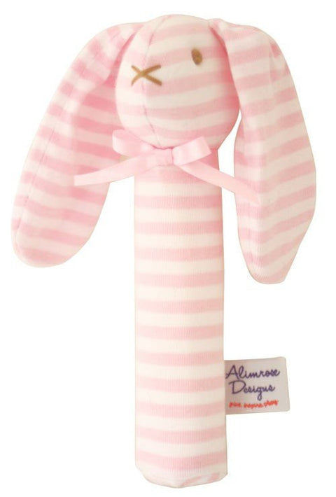 Alimrose Designs Bunny Squeaker - Pink/White Stripe - My Messy Room