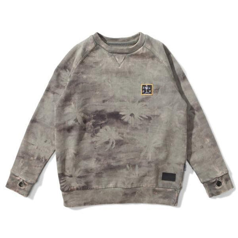 S18 Munster Kids Camo Palm Track Fleece Crew - Washed Olive (Drop 2)