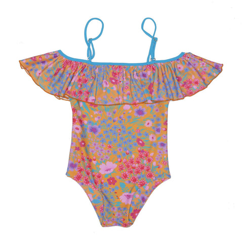 S18 Coco And Ginger Saffron Gypsy Flowers Frill Swimsuit