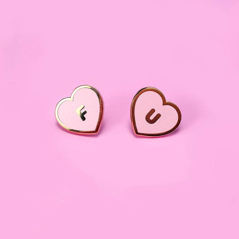 Little Arrow FU Hearts Lapel Pin Set - Pink