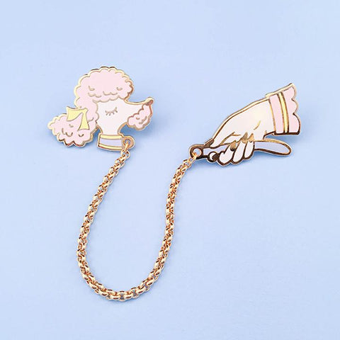 Little Arrow Pink Toy Poodle Lapel Pin