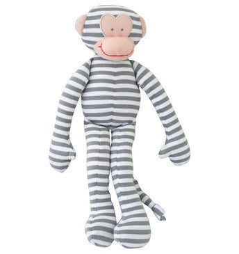 Alimrose Monkey Rattle - Grey Stripe 30cm