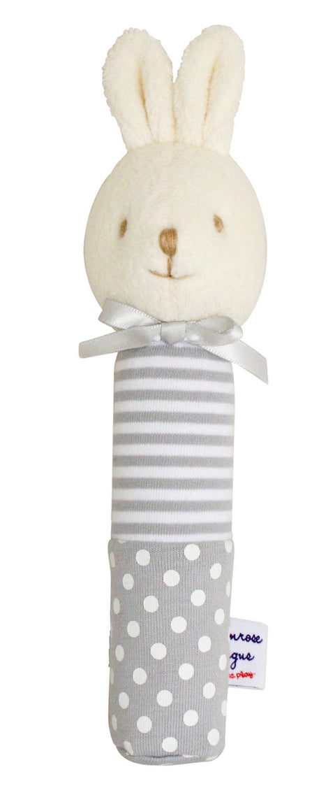 Alimrose Hand Squeaker - Bunny Grey Spot Stripe - My Messy Room