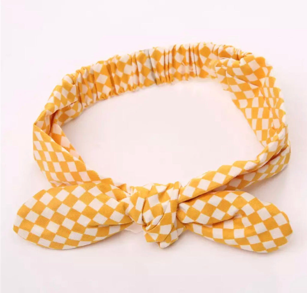 Sunshine Club Baby Knot Elastic Headband - Mustard Check