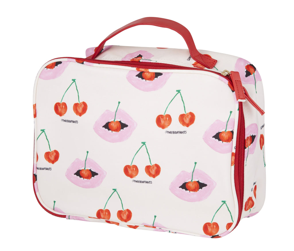Bouffants And Broken Hearts Cherry Lips Cosmetic Bag 14x21cm