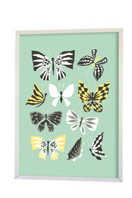 Littlephant Aqua Butterflies Print - My Messy Room - 1