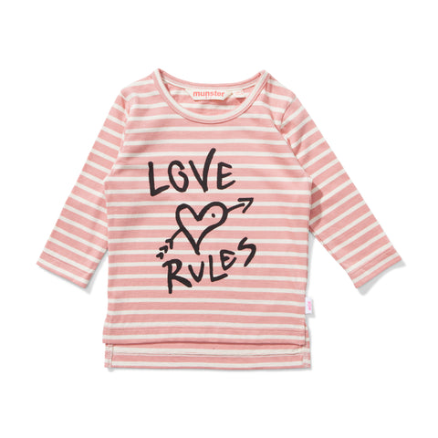 W18 Lil Missie Love Rules Tee - Desert Rose Stripe
