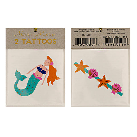Meri Meri Tattoos - Mermaids and Seashells