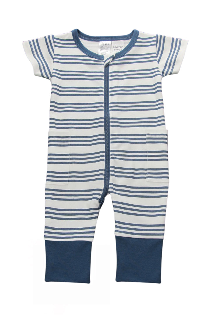 S17 Gaia Organic Cotton Stripe Navy Onesie - 2 Way Zip