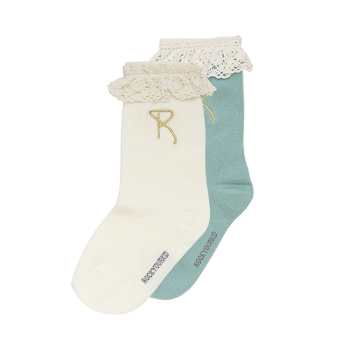 S18 Rock Your Kid Lace Socks - Green/Oatmeal 2 Pack