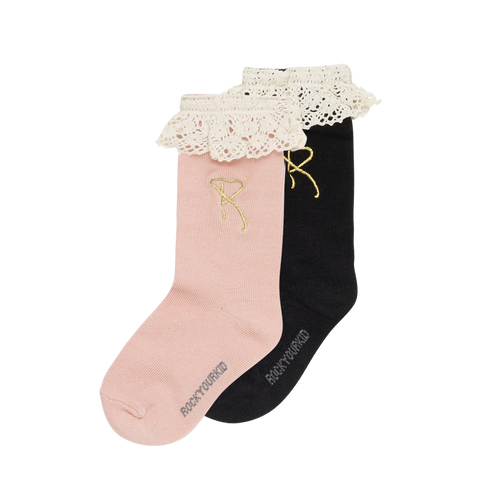 S18 Rock Your Kid Lace Socks - Pink/Black 2 Pack