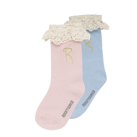 S18 Rock Your Kid Lace Socks - Blue/Pink 2 Pack