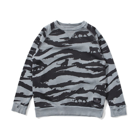 W18 Munster Kids Tiger Camo Crew - Washed Black