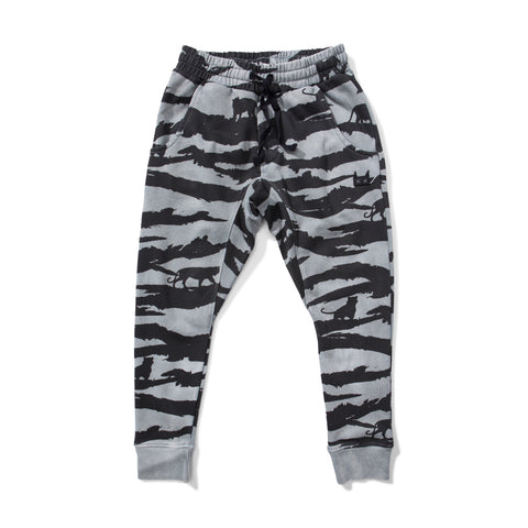 W18 Munster Kids Tiger Stripe Trackpant - Washed Black
