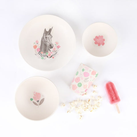 Love Mae 4 piece Bamboo Dinner Set - Unicorn Supper