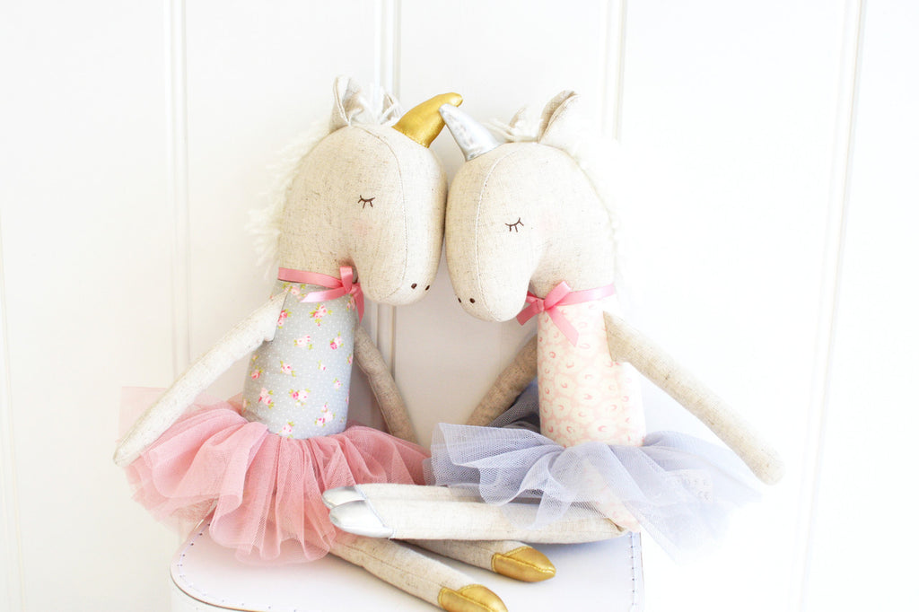 Alimrose Yvette Unicorn Doll - Blush and Gold