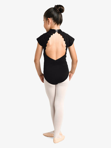 Leotard Cap Sleeve Embroidered High Neck Danznmotion (Child)