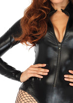 Zip Front Vinyl Bodysuit (Adult)