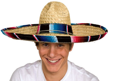 Sombrero with Serape Trim Band (Adult)