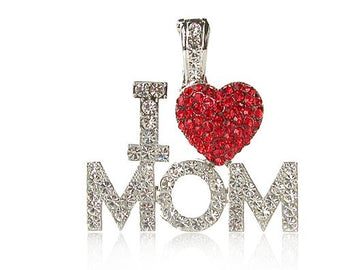 """I Love Mom"" Rhinestone Pendant"