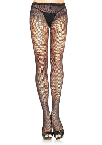 Rhinestone Spandex Fishnet Tights