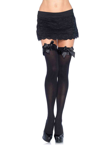 Opaque Thigh Highs with Ruffle and Bow