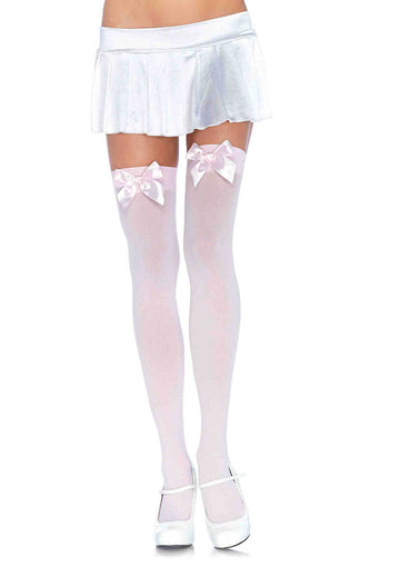 Opaque Thigh Highs with Satin Bow Accent