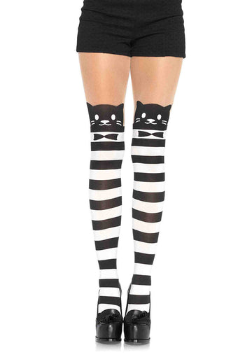 Cat Striped Opaque Pantyhose