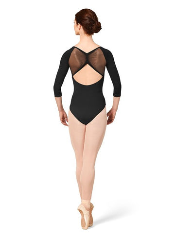 3/4 Sleeve Mesh Back Leotard by Mirella (Adult)