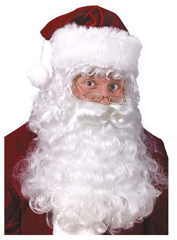 Santa or Old Man Beard & Wig Set